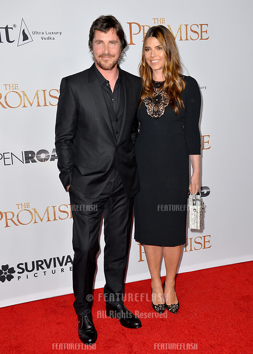 Christian Bale &amp; Sibi Blazic at the premiere for &quot;The Promise&quot; at the TCL Chinese Theatre, Hollywood. Los Angeles, USA 12 April  2017<br /> Picture: Paul Smith/Featureflash/SilverHub 0208 004 5359 sales@silverhubmedia.com