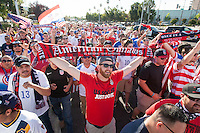 Santa Clara, CA - Friday June 3, 2016: USA fans march to the stadium before the game. USA played Colombia in the opening match of the Copa América Centenario game at Levi's Stadium.