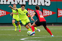 Rochester, NY - Saturday July 09, 2016: Seattle Reign FC midfielder Keelin Winters (11), Western New York Flash midfielder Abby Erceg (6) during a regular season National Women's Soccer League (NWSL) match between the Western New York Flash and the Seattle Reign FC at Frontier Field.