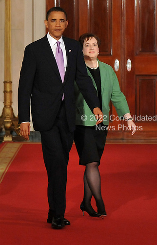 United States President Barack Obama and Solicitor General Elena Kagan walk into the East Room for an event where Obama announced her as his Supreme Court Justice nominee, at the White House in Washington, Monday, May 10, 2010. A vacancy in the court has opened up as current Supreme Court Justice John Paul Stevens has announced his resignation.    .Credit: Kevin Dietsch / Pool via CNP