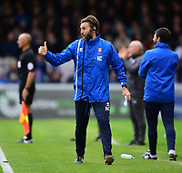 Lincoln City's assistant manager Nicky Cowley shouts instructions to his team from the technical area<br /> <br /> Photographer Chris Vaughan/CameraSport<br /> <br /> The EFL Sky Bet League Two - Lincoln City v Chesterfield - Saturday 7th October 2017 - Sincil Bank - Lincoln<br /> <br /> World Copyright &copy; 2017 CameraSport. All rights reserved. 43 Linden Ave. Countesthorpe. Leicester. England. LE8 5PG - Tel: +44 (0) 116 277 4147 - admin@camerasport.com - www.camerasport.com