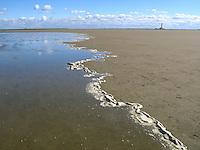 Hochwasser, Flut läuft auf, Sandwatt, Watt, Sand-Watt bei auflaufender Flut, auflaufendes Wasser führt Schaum mit, Nationalpark Schleswig-Holsteinisches Wattenmeer, im Hintergrund Leuchtturm Westerhever, Nordsee, Schleswig-Holstein