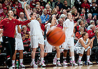 STANFORD, CA- FEBRUARY 9, 2012 - The Stanford bench celebrates during PAC-12 conference play against USC at Maples Pavilion on the Stanford campus. The Cardinal defeated the Trojans 69-52.