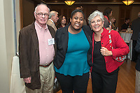 Larry McGrail P'05 P'07, Nia Patterson '14 and Diana McGrail '74 P'05 P'07. Occidental College hosts the Scholarship Appreciation Reception, February 13, 2014 in Dumke Commons of Swan Hall.  (Photo by Marc Campos, Occidental College Photographer)