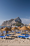 Fossa beach with the Peñon de Ifach at background, Calpe, Alicante province, Spain