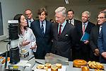 Le Roi Philippe &agrave; visit&eacute; l'Inspirience Center  Centre de recherche mondial de &quot;Puratos&quot;. Inaugur&eacute; fin 2014 il est le centre d&eacute;di&eacute; &agrave; l'innovation et la cr&eacute;ativit&eacute; dans le domaine de la boulangerie, p&acirc;tisserie et du chocolat. Bruxelles, Belgique, le 13 janvier 2015.<br /> King Philippe visited Inspirience Center Global Research Center &quot;Puratos&quot;. Opened end of 2014 it is the center dedicated to innovation and creativity in the field of bakery, pastry and chocolate. Brussels, Belgium, 13 January 2015.