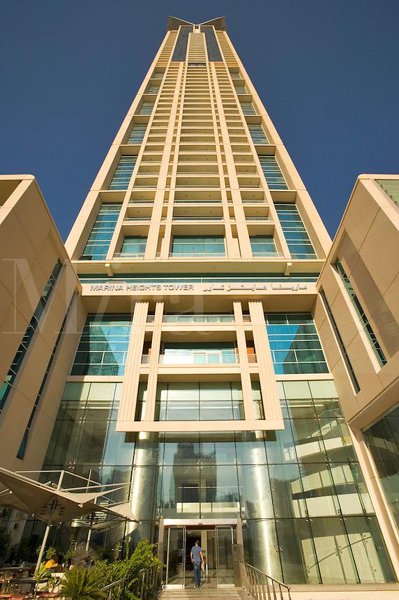 Dubai.  Marina Heights Tower apartment building at Dubai Marina..