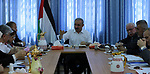 Palestinian Prime Minister Mohammad Ishtayeh chairs the weekly meeting of his government, in the West Bank city of Ramallah, September 16 2019. Photo by Prime Minister Office