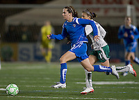 Boston Breakers forward Kelly Schmedes (3) moves ball as St Louis Athletica midfielder Angie Woznuk (11) defends. The Boston Breakers defeated Saint Louis Athletica, 2-0, at Harvard Stadium on April 11, 2009.