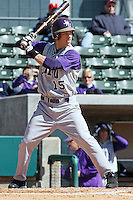 Johnny Bladel of James Madison University hitting in a game against UC Irvine at the Baseball at the Beach Tournament held at BB&T Coastal Field in Myrtle Beach, SC on February 28, 2010.