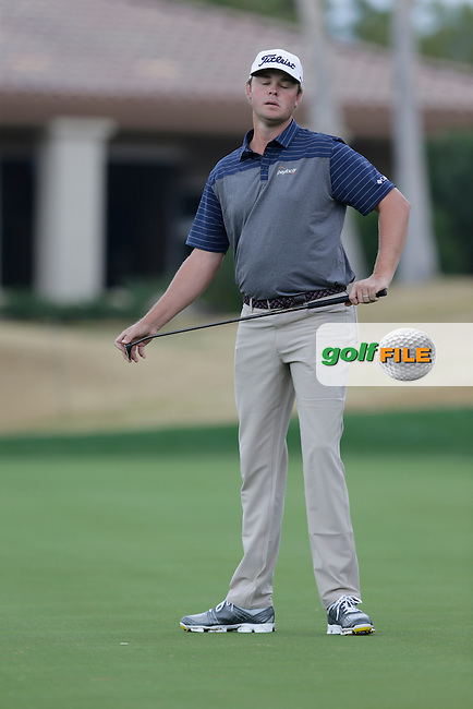 Patton Kizzire (USA) misses his putt on the 17th green during Thursday's Round 1 of the 2017 CareerBuilder Challenge held at PGA West, La Quinta, Palm Springs, California, USA.<br /> 19th January 2017.<br /> Picture: Eoin Clarke | Golffile<br /> <br /> <br /> All photos usage must carry mandatory copyright credit (&copy; Golffile | Eoin Clarke)