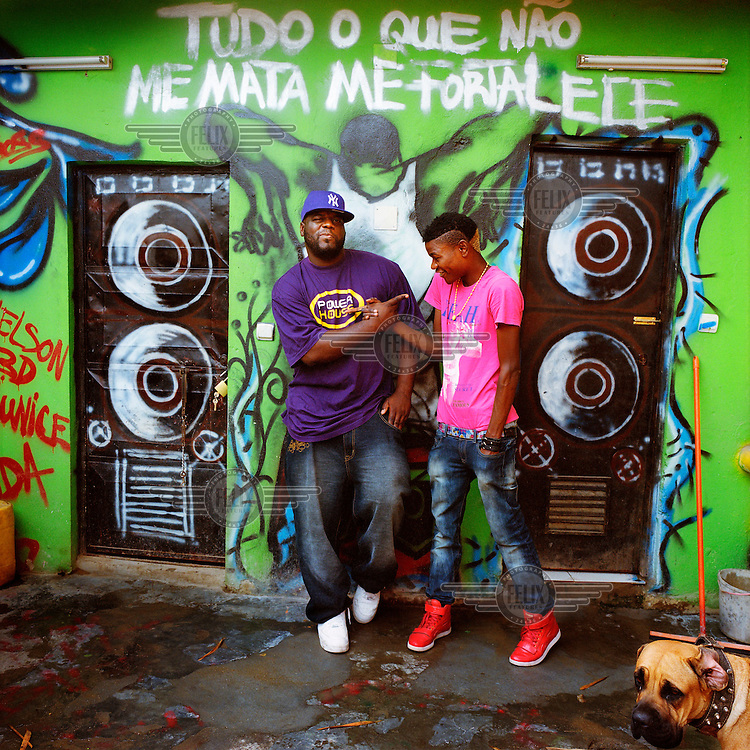 Kuduru/Kuduro musician Cabo Snoop (right) and the producer Hochi-fu at Power House studios, a Luanda based production company who are a major force in the making of Kuduru/Kuduro music videos.