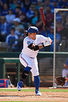 Shin-Soo Choo (17) of the Texas Rangers at bat during a Cactus League Spring Training game against the Los Angeles Dodgers on March 8, 2020 at Surprise Stadium in Surprise, Arizona. Rangers defeated the Dodgers 9-8. (Tracy Proffitt/Four Seam Images)