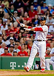 22 June 2019: Boston Red Sox third baseman Rafael Devers pinch hits in the 9th inning against the Toronto Blue Jays at Fenway :Park in Boston, MA. The Blue Jays rallied to defeat the Red Sox 8-7 in the 2nd game of their 3-game series. Mandatory Credit: Ed Wolfstein Photo *** RAW (NEF) Image File Available ***