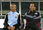 31 March 2007: Houston head coach Dominic Kinnear (l) and New York head coach Bruce Arena (r) before the game. Major League Soccer's Houston Dynamo defeated the New York Red Bulls 2-1 in a preseason game at Blackbaud Stadium on Daniel Island in Charleston, SC, as part of the Carolina Challenge Cup.