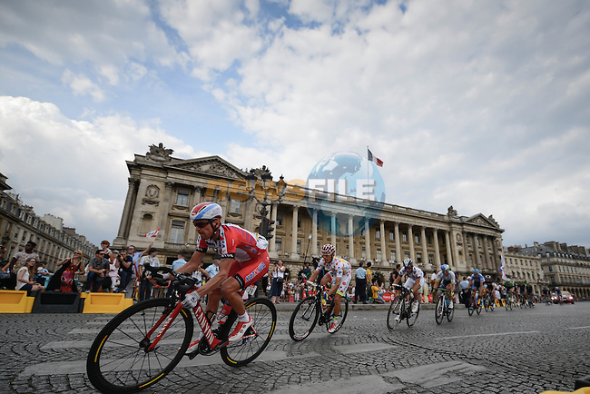 Yury Trofimov (RUS) Katusha followed by Polka Dot Jersey holder Rafal Majka (POL) Tinkoff-Saxo through Place de la Concord during the final Stage 21 of the 2014 Tour de France running 137.5km from Evry to Paris Champs-Elysees. 27th July 2014.<br /> Photo ASO/P.Ballet/www.newsfile.ie