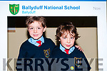 Twins Tiernan & Edan O'Brien on their first day at Ballyduff NS.