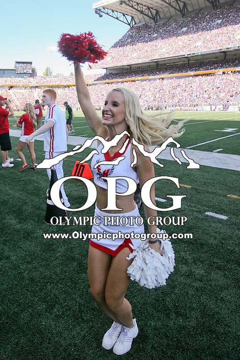 SEP 06, 2014: Eastern Washington cheerleaders were on hand pumping up the fans during the game against Washington.  Washington defeated Eastern Washington 59-52 in Seattle Washington.
