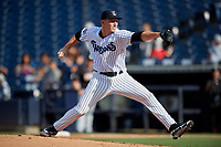 Tampa Tarpons pitcher Trevor Stephan (35) delivers a pitch during a Florida State League game against the Jupiter Hammerheads on July 26, 2019 at George M. Steinbrenner Field in Tampa, Florida.  Stephan struck out 9 batters over 7 innings for a no-hitter in the first game of a doubleheader.  Tampa defeated Jupiter 2-0.  (Mike Janes/Four Seam Images)