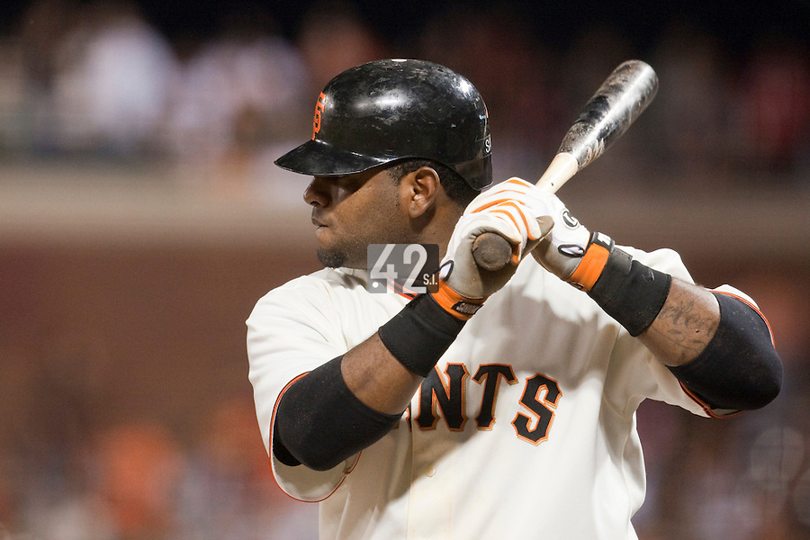 21 April 2009: San Francisco Giants' Pablo Sandoval is seen at bat during the San Francisco Giants' 8-3 win  over the San Diego Padres at AT&T Park in San Francisco, CA.