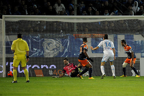 29.11.2013. Marseilles, France. French League 1 football. Marseilles versus Montpellier.  But Thauvin (OM)