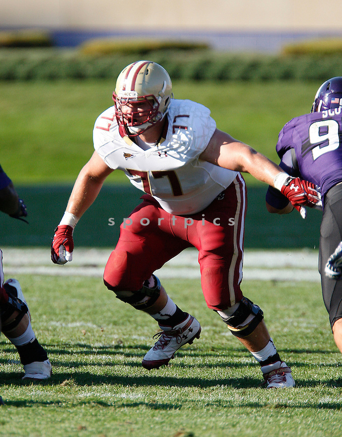 Boston College Eagles Emmett Cleary (77) during a game against the Northwestern Wildcats on September 15, 2012 at Ryan Field in Evanston, IL. Northwestern beat Boston College 22-13