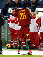 Roma's Stephan El Shaarawy holds up the jersey of his injured teammate Rick Karsdorp after scoring the winning goal during the Serie A football match between Roma and Bologna at Rome's Olympic stadium, October 28, 2017.<br /> UPDATE IMAGES PRESS/Riccardo De Luca