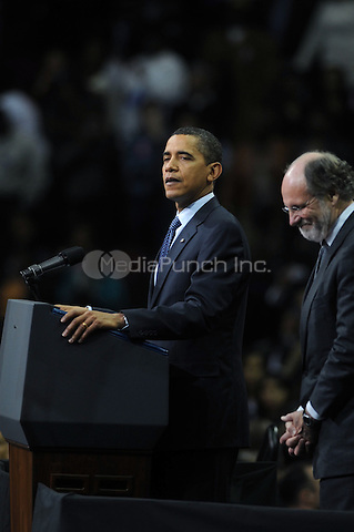 U.S. President Barack Obama at a campaign rally for New Jersey Gov. Jon Corzine at the Prudential Center  in Newark, New Jersey. November 1, 2009. Credit: Dennis Van Tine/MediaPunch