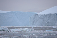 Large grounded Table Icebergs . Disco Bay, Greenland