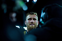 Hurricanes centurion Brad Shields in interviewed after the Super Rugby match between the Hurricanes and Blues at Westpac Stadium in Wellington, New Zealand on Saturday, 7 July 2018. Photo: Dave Lintott / lintottphoto.co.nz