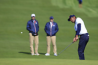 Tony Finau (Team USA) chips onto the 17th green during Saturday's Fourball Matches at the 2018 Ryder Cup 2018, Le Golf National, Ile-de-France, France. 29/09/2018.<br /> Picture Eoin Clarke / Golffile.ie<br /> <br /> All photo usage must carry mandatory copyright credit (© Golffile | Eoin Clarke)