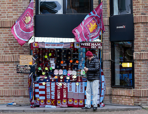 21.03.2015.  London, England. Barclays Premier League. West Ham versus Sunderland.  Merchandise stall outside the Boleyn Ground