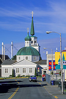 Russian Orthodox Saint Michael's church in downtown Sitka. Built in 1844-48, destroyed by fire in January 1966. Many of the icons and religious objects were salvaged and are in the rebuilt structure Sitka, Alaska