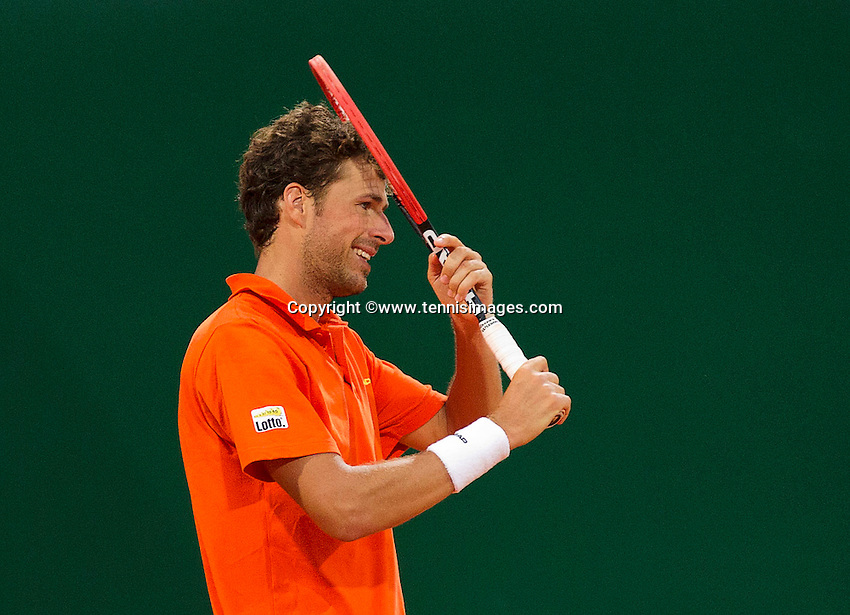 Austria, Kitzb&uuml;hel, Juli 17, 2015, Tennis, Davis Cup, Second match between Robin Haase (NED and Andreas Haider-Maurer (AUT), pictured: Robin Haase reacts<br /> Photo: Tennisimages/Henk Koster