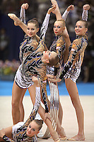 September 12, 2009; Mie, Japan;  Russian rhythmic group begins routine with 5-hoops to win bronze in this group All Around final at the 2009 World Championships Mie, Japan. Photo by Tom Theobald. .