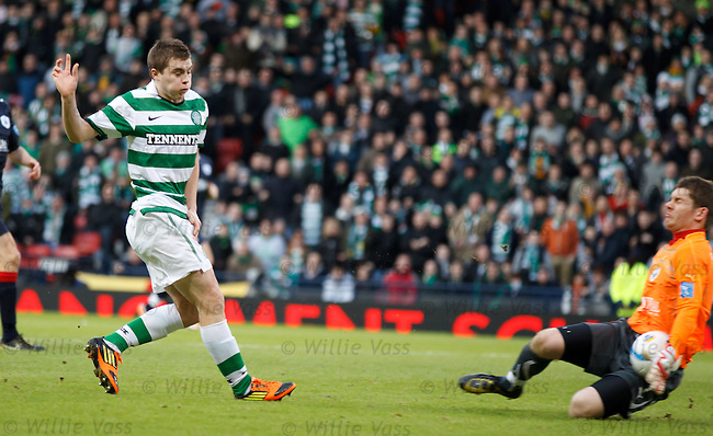 James Forrest's shot saved by Michael McGovern.