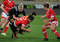 Amanda Thornborough is tackled during the 2017 International Women's Rugby Series rugby match between the NZ Black Ferns and Canada at Westpac Stadium in Wellington, New Zealand on Friday, 9 June 2017. Photo: Dave Lintott / lintottphoto.co.nz