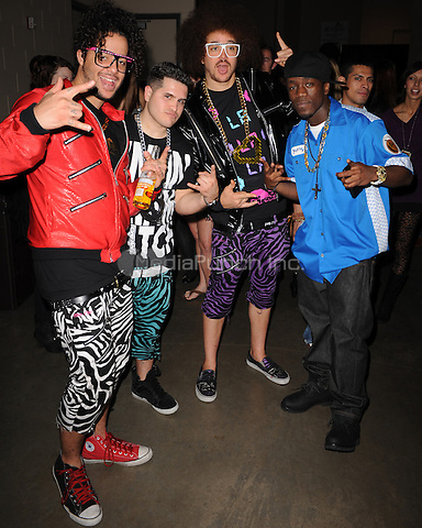 SUNRISE, FL - DECEMBER 12 :  LMFAO and JoJo pose backstage at the Y-100 Jingle ball held at the Bank Atlantic center on December 12, 2009 in Fort Lauderdale Florida. Credit: mpi04/MediaPunch