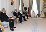 Palestinian President Mahmoud Abbas meets with Qatar Emir Sheikh Tamim bin Hamad al-Thani, in Doha, Qatar on August 9, 2018. Photo by Thaer Ganaim