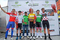 Final jersey winners podium, with race director Jorge Sandoval. Stage five of the NZ Cycle Classic UCI Oceania Tour (Masterton Circuit) in Wairarapa, New Zealand on Sunday, 19 January 2020. Photo: Dave Lintott / lintottphoto.co.nz