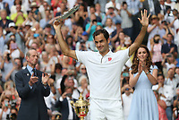 Roger Federer (SUI) with his runners-up trophy after his match against Novak Djokovic (SRB) in their Gentleman's Singles Final match<br /> <br /> <br /> Photographer Rob Newell/CameraSport<br /> <br /> Wimbledon Lawn Tennis Championships - Day 13 - Sunday 14th July 2019 -  All England Lawn Tennis and Croquet Club - Wimbledon - London - England<br /> <br /> World Copyright © 2019 CameraSport. All rights reserved. 43 Linden Ave. Countesthorpe. Leicester. England. LE8 5PG - Tel: +44 (0) 116 277 4147 - admin@camerasport.com - www.camerasport.com