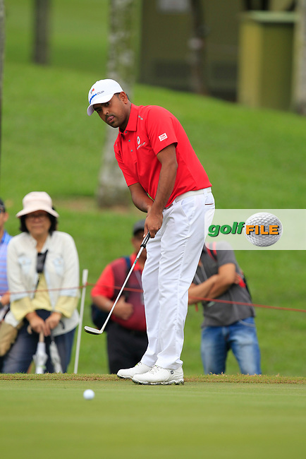Anirban Lahiri (Asia) on the 1st green during the Singles Matches of the Eurasia Cup at Glenmarie Golf and Country Club on the Sunday 14th January 2018.<br /> Picture:  Thos Caffrey / www.golffile.ie