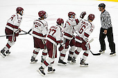 The Crimson celebrate Ryan Donato's (Harvard - 16) first goal. - The Harvard University Crimson defeated the Dartmouth College Big Green 5-2 to sweep their weekend series on Sunday, November 1, 2015, at Bright-Landry Hockey Center in Boston, Massachusetts. -