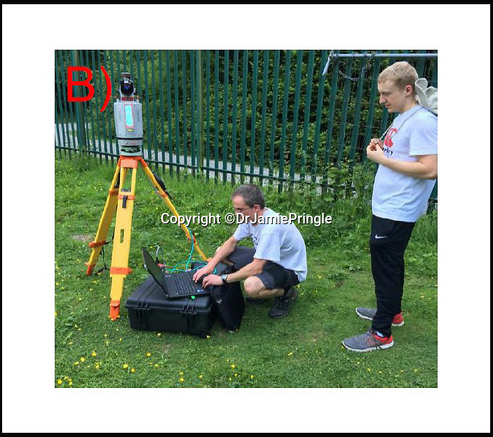 BNPS.co.uk (01202 558833)Pic: DrJamiePringle/BNPS<br /> <br /> Scanning the site to investigate the tunnels...<br /> <br /> Die Grosse Flucht- The German Great Escape<br /> <br /> The incredible story of 84 Germans who escaped from a Welsh Prisoner of War Camp during World War Two has been retold after their hidden tunnel was discovered and excavated. <br /> <br /> On March 10 1945 a whole hut of captured Axis officers descended underground and successfully executed a brazen getaway in a scene reminiscent of those played out in the 1963 epic The Great Escape. <br /> <br /> Over 70 years later a team of scientists and historians entered the deserted Camp 198 in Bridgend to examine the only remnant of it, Hut 9, where the cunning plan was hatched. <br /> <br /> Dr Jamie Pringle, of Keele University in Staffordshire, who previously helped locate 'Dick', one of the three famous Great Escape tunnels at Stalag Luft III, led the investigation.
