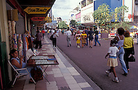 Stores and shoppers on Avenida Central pedestrian mall in Panama City, Panama