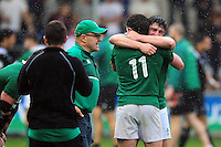 Ireland U20 players celebrate their historic win at the final whistle. World Rugby U20 Championship match between New Zealand U20 and Ireland U20 on June 11, 2016 at the Manchester City Academy Stadium in Manchester, England. Photo by: Patrick Khachfe / Onside Images