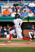Reading Fightin Phils center fielder Roman Quinn (4) hits a home run during a game against the Portland Sea Dogs on May 31, 2016 at Hadlock Field in Portland, Maine.  Reading defeated Portland 6-4.  (Mike Janes/Four Seam Images)