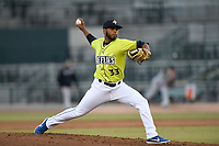 Pitcher Jaison Viera (33) of the Columbia Fireflies delivers a pitch in a game against the Charleston RiverDogs on Saturday, April 6, 2019, at Segra Park in Columbia, South Carolina. Columbia won, 3-2. (Tom Priddy/Four Seam Images)