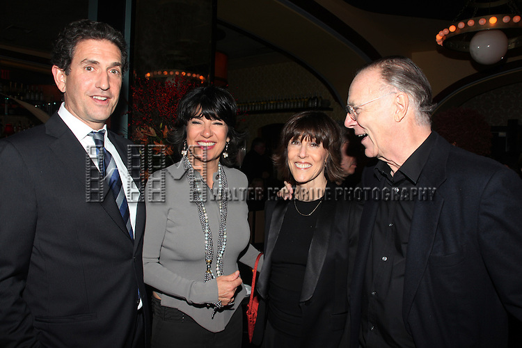 "Christiane Amanpour with her husband Jamie Rubin, Nora Ephron with her husband Nicholas Pileggi .attending the Opening Night After Party at Marseille Restaurant for ""Love, Loss and What I Wore""  as OffBroadway's Biggest Hit welcomes it's newest cast members..November 18, 2009."