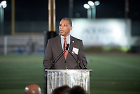 Keynote speaker Occidental Trustee Eric Moore '83.<br /> The Occidental community celebrates its student-athletes with the induction of the sixth class into the Occidental College Athletics Hall of Fame during Homecoming and Family Weekend on Friday, Oct. 13, 2017 in Jack Kemp Stadium. The 2017 inductees are Stephen Haas '63 (track and field), the 1982 women's tennis team (NCAA national champions), Blair Slattery '94 (basketball and tennis), and the late Andy Collins '07 (football, track and field).<br /> (Photo by Marc Campos, Occidental College Photographer)
